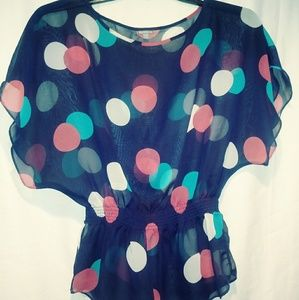 Charlotte R Kimono Sleeve Dot sheer Blouse Sz XS